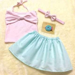 Scarlet Tube Top in Pastel Skirt