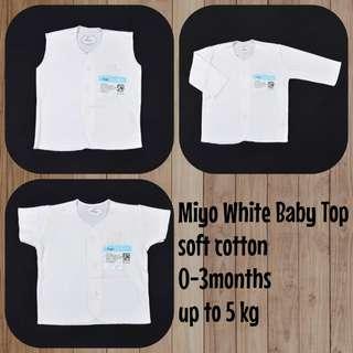 🚚 0-3 White baby top / short sleeves / sleeveless / longsleeves