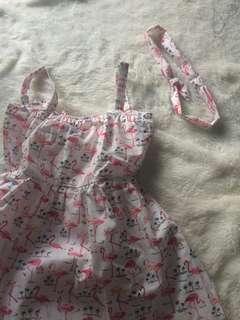 Tie Knot Back Dress in Flamingo