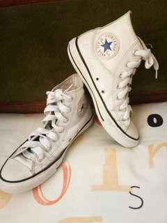 Authentic Leather White Hicut Converse