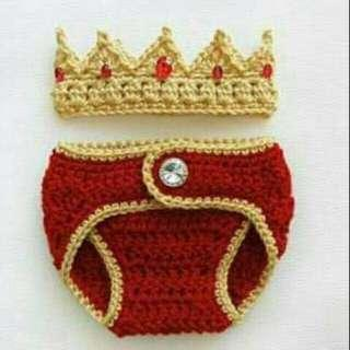 👶set crochet crown and diaper cover(king)