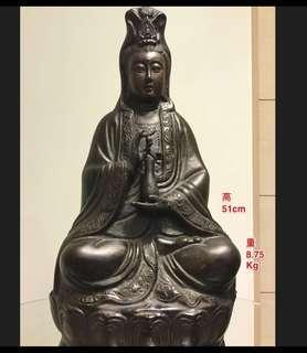 純銅觀音 銅像 佛像 明制風格獨特