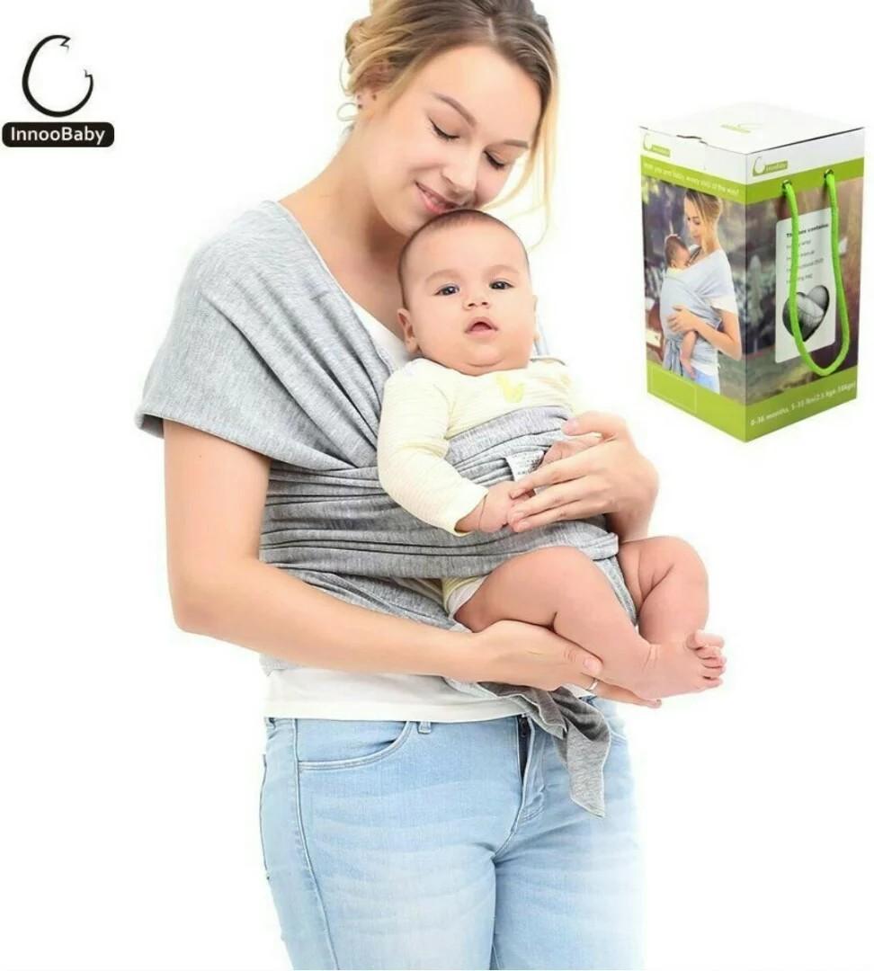 3855c9add3b 1115-Innoo Tech Baby Sling Carrier Natural Cotton Nursing Baby Wrap ...