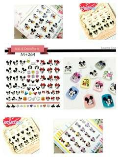 Disney Mickey Mouse and Minnie Mouse nail art