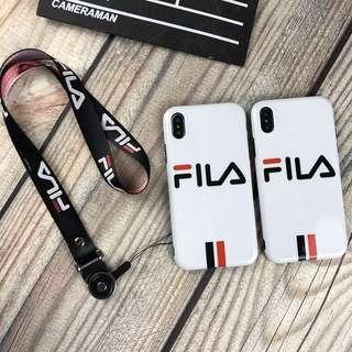 Basic White Fila Stripe Phone Case with Lanyard