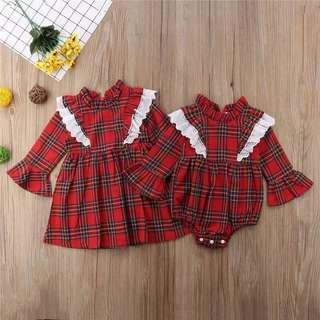 Tartan Plaid Dresses Twinning Outfit
