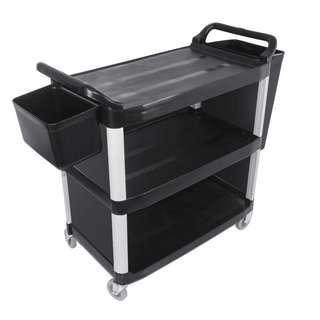 3 Tier Food Trolley Food Waste Cart Storage Mechanic Kitchen Black with Bins