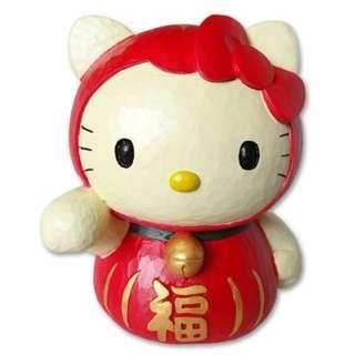 Sanrio Hello Kitty Red Daruma Doll Lucky Coin Piggy Bank Japan
