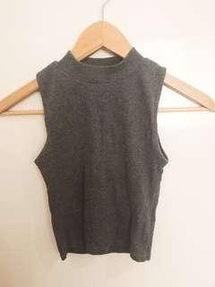 Grey thin knit fabric top