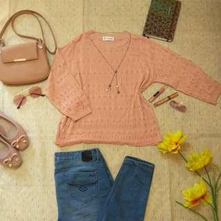 HQ Peach Knitted Top