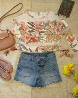 HQ Floral Top with Mesh