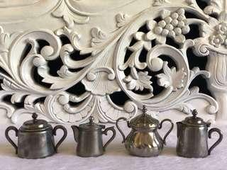 4pcs. ANTIQUE SILVER PLATED CANISTER