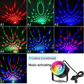 P12 [Latest version] Disco Ball Party Light, 3W 7 Colors RGB Music Activated LED Lighting Discolamp, for Indoor Party Lighting Effects like Christmas Wedding Birthday Holiday Parties