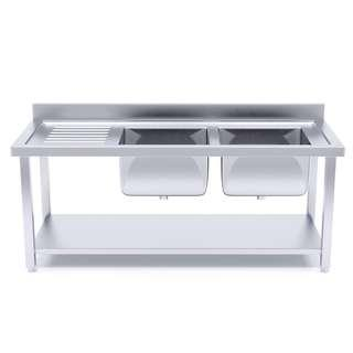 Stainless Steel Work Bench Right Dual Sink Commercial Restaurant Kitchen Food Prep 160*70*85