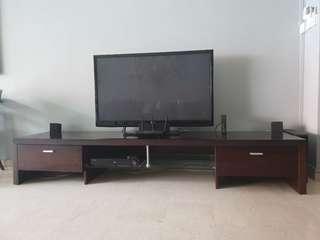 Large Dark wood TV console cabinet