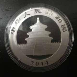 Year 2014, 99.9% Silver Chinese Panda coin  with Acrylic Capsule