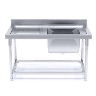 Stainless Steel Work Bench Right Sink Commercial Restaurant Kitchen Food Prep 140*70*85