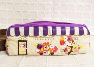 (中古) 💯正品 日本 Disney Chip n Dale 大鼻鋼牙 奇奇蒂蒂 筆袋 小袋 化妝袋