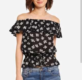 Frill Off Shoulder Top Floral Black