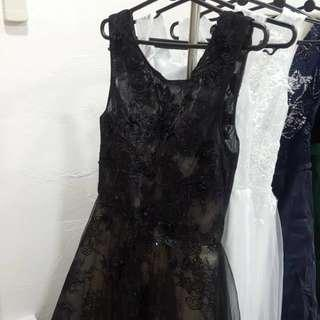 Black Night Gown With Beads/Lace Details