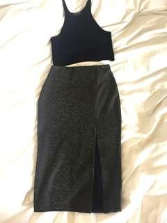 Gold metallic detail split midi skirt