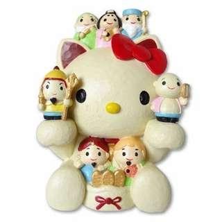 Japan Sanrio Hello Kitty Seven Lucky Gods Coin Bank Figurine
