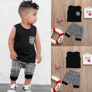 🚚 Baby Boy Toddler 2pc Sleeveless + Plaid Shorts