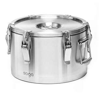 SOGA 304 Stainless Steel Insulated Food Carrier Food Warmer 10L
