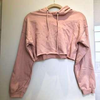 PRETTY LITTLE THING CROPPED PINK HOODIE SIZE 8