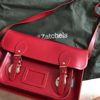 Zatchels Red Leather Satchel Bag