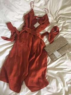 New! TUSSAH Felix silky wrap dress