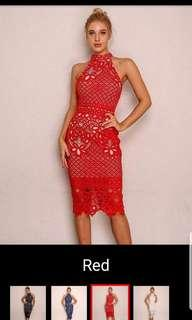 Red lace Dress, brand new, bought the wrong size. Pls refer to size chart for M size