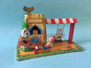 Vintage Wind Up Tin Toy Animal House 古董 鐵皮 動物 樂園