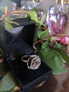 Solid sterling silver rose ring