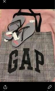 tote bag and slippers