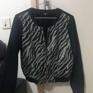 全新Gitti黑色斑馬條紋長袖褸外套