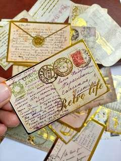 3pcs assorted Vintage Golding stamp Stickers