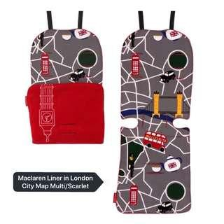 Limited Edition! Brand NEW Maclaren Reversible Seat Liner in London City Map Multi/Scarlet!