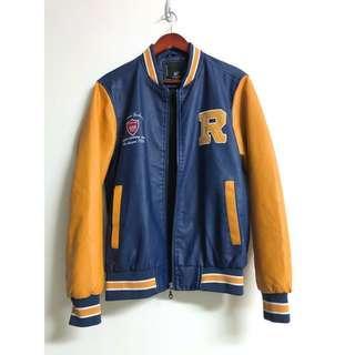 🚚 Vintage1986皮衣 美式古著全皮革刺繡棒球外套 防風鋪棉刷毛男女運動風拉鍊夾克 男友風 長袖 藍黃 復古