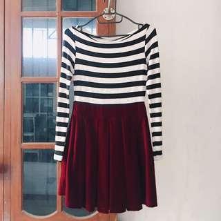 Stripe Suede Bludru Dress korean