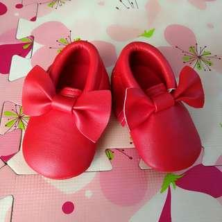 Baby Shoes Red Ribbon