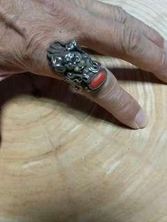 尼泊爾早期純銀龍頭戒指