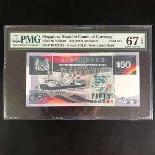 High grade solid 222222 $50 Singapore ship series note (PMG 67EPQ)