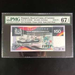 High grade solid 333333 $50 Singapore ship series note (PMG 67EPQ)