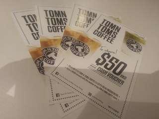 TOM N TOMS coffee Cake TOM N TOMS COFFEE HK $50 cash coupons 4 張