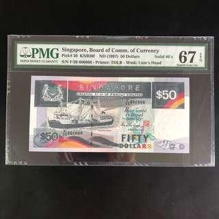 High grade solid 666666 $50 Singapore ship series note (PMG 67EPQ)