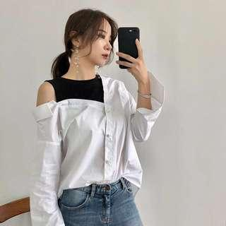 Off shoulder  B&W shirt