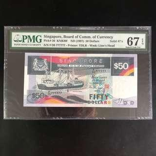 High grade solid 777777 $50 Singapore ship series note (PMG 67EPQ)