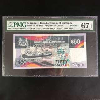 High grade solid 111111 $50 Singapore ship series note (PMG 67EPQ)