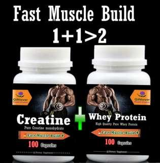 Fast muscle builder 1+1>2,Creatine +Whey Protein,dietary supplement,100pieces/bottle,